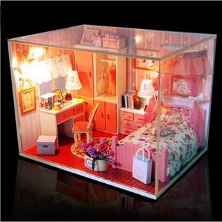 Mô hình nhà búp bê gỗ – phòng ngủ màu hồng Pink Dream