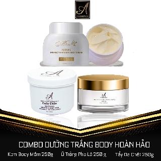 Bộ 3 sản phẩm dưỡng trắng dành cho Body Kem Body Mềm + Ủ trắng pha lê + Tẩy da chết cf chồn Freeship Tặng kèm quà thumbnail