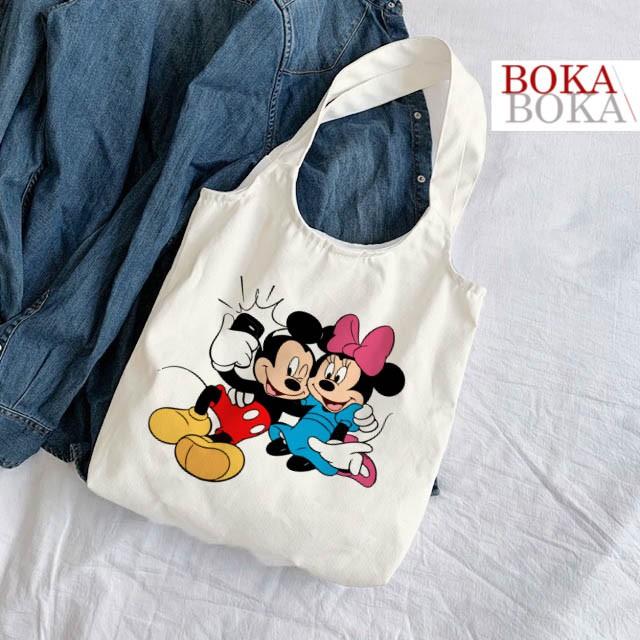 Túi Tote Vải Canvas Quai Tròn Hình Mickey & Friends Có Khóa Miệng Túi