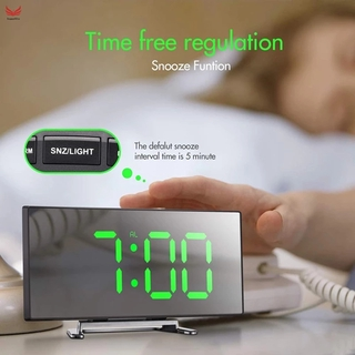 Digital Clock Large Display Multifunctional LED Electric Alarm Clocks Mirror Surface For Home Bedroom