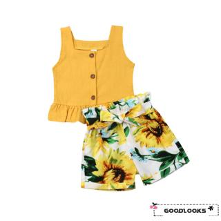 HGL♪Toddler Kids Baby Girl Tops Crop Sunflower Short Pants Outfits Clothes Summer
