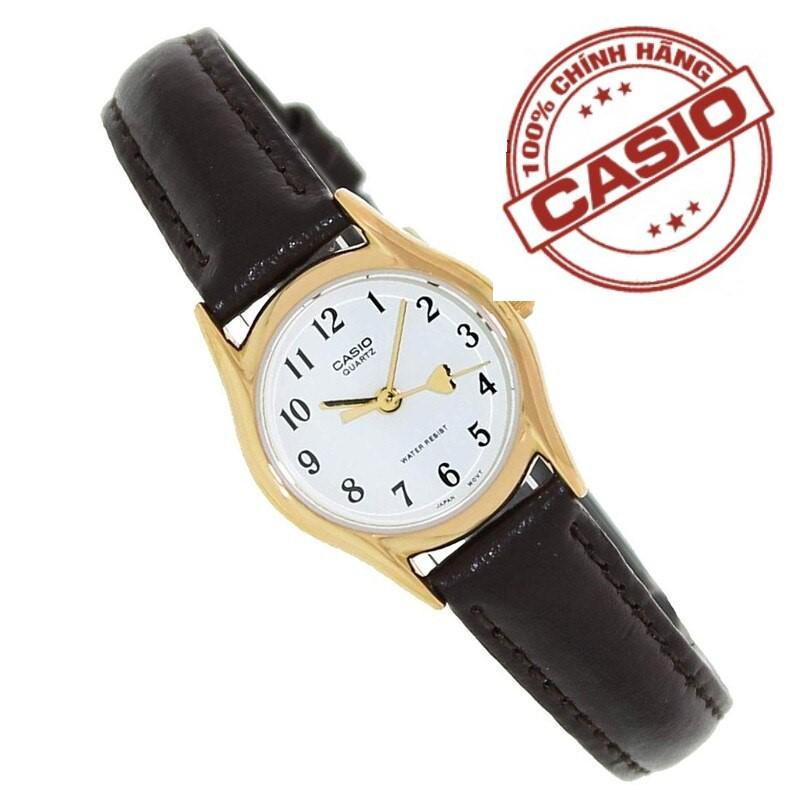 Đồng hồ nữ CASIO LTP-1094Q-7B5RDF Dây da nâu - Mặt số viền vàng