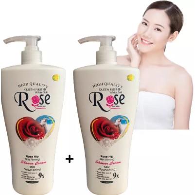 Sữa tắm dê Rose 8x cao cấp với tinh chất hoa hồng giúp làm sáng, mịn da chai khổng lồ 1200ml SKKH