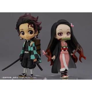 2pcs/set Anime Demon Slayer: Kimetsu no Yaiba Kamado Tanjirou/ Nezuko Q version PVC Action Figure Model Qposket Toys