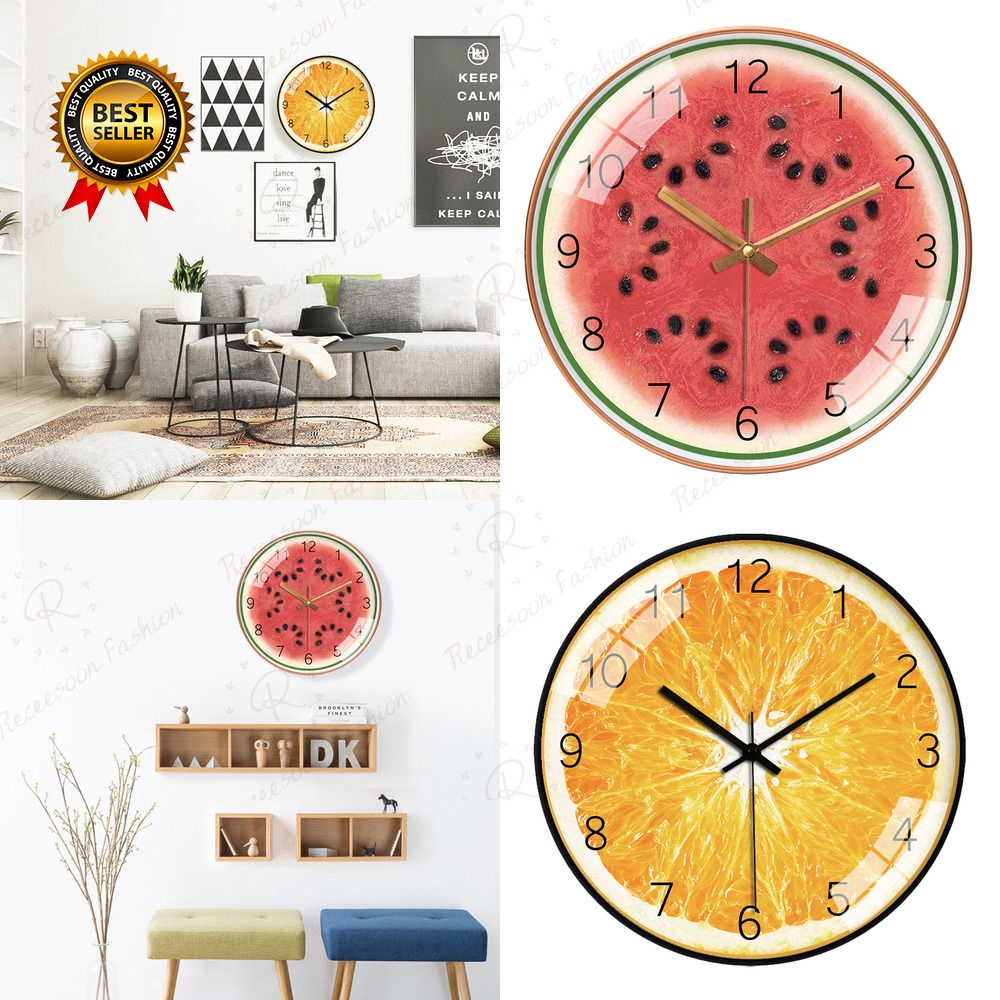 Cute Fruit Creative Cartoon Wall Clock Cartoon Hanging Clock Wall Watch For Home Decoration