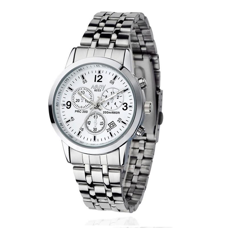 Đồng hồ nam nữ nary màu trắng có lịch