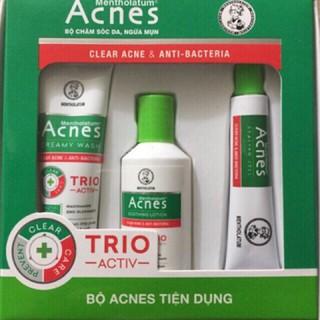 bộ sản phẩm chăm sóc da mụn Acnes - combo chăm sóc da bị mụn Acnes gồm kem rửa mặt acnes creamy wash, dung dịch và gel thumbnail