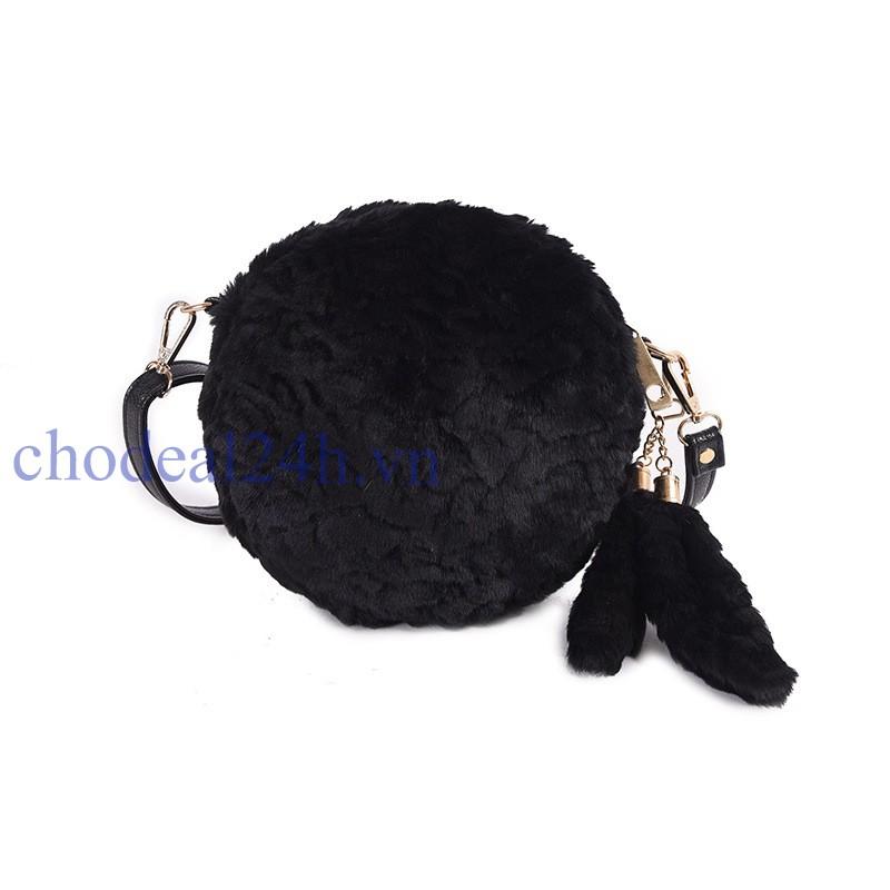 Túi xách lông thú đính khóa đuôi hồ ly (đen)