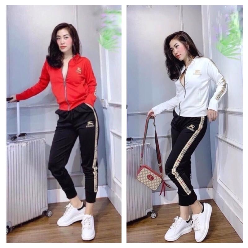 BỘ THỂ THAO NỮ 4 màu thời trang BBR 40-63kg trắng đỏ đô giá sỉ 1-20sp chất không giãn