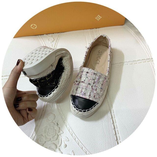 Giày lười nữ Dạ trơn khâu viền cói đế mềm dẻo cực dễ đi hot hit dã man