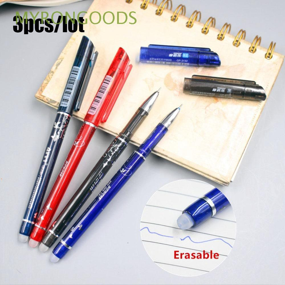 3 Pcs 0.5mm Office Supplies Plastic Stationery Multifunction Refill Erasable Pen