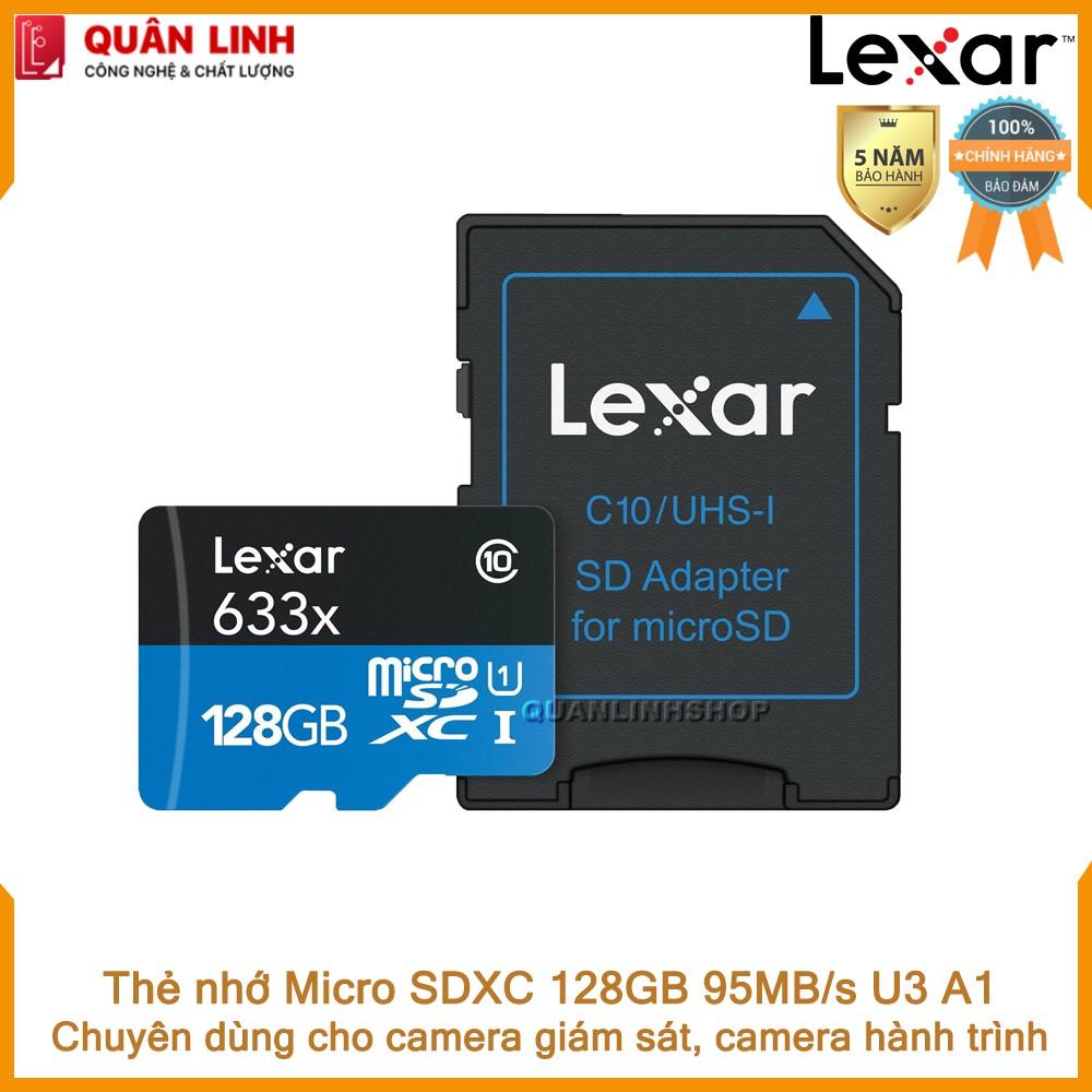 Thẻ nhớ Micro SDXC 128GB A1 UHS-I V30 U3 95MB/s Lexar chuyên dùng cho Camera giám sát, hành trình