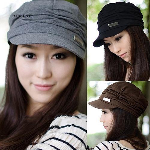 ღNK_Women Fashion Pleated Peaked Cap Hat Casual Outdoor Sports Travel Sunhat