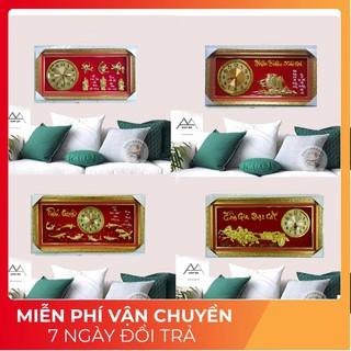 Tranh đẹp _Đồng hồ treo tường tranh đá si vàng [ 13 MẪU ] vải nhung đỏ cao cấp cỡ 45x90, sang trọng _quý phái _ nổi bật.