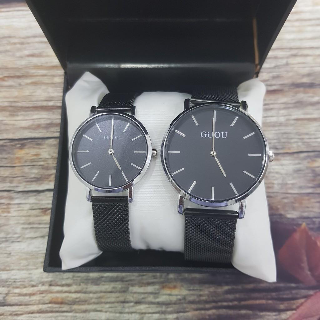 Đồng hồ cặp đôi cao cấp - Dây thép lụa đen