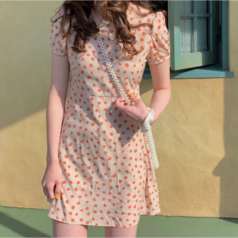 Fresh and sweet floral short sleeve dress