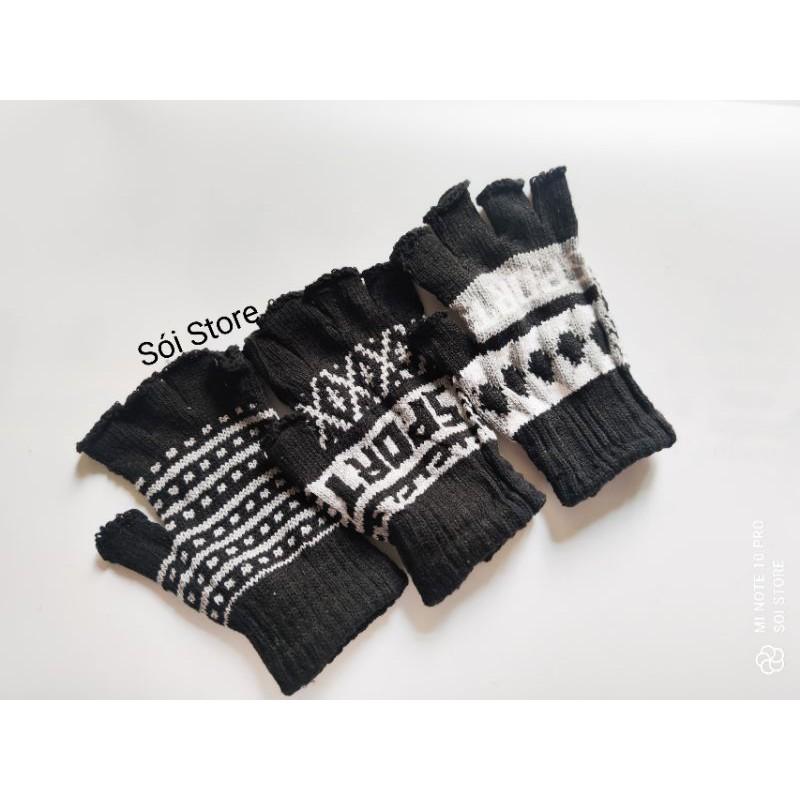 Combo 2 đôi bao tay len nam nữ giữ ấm, chống nắng hở ngón tiện lợi