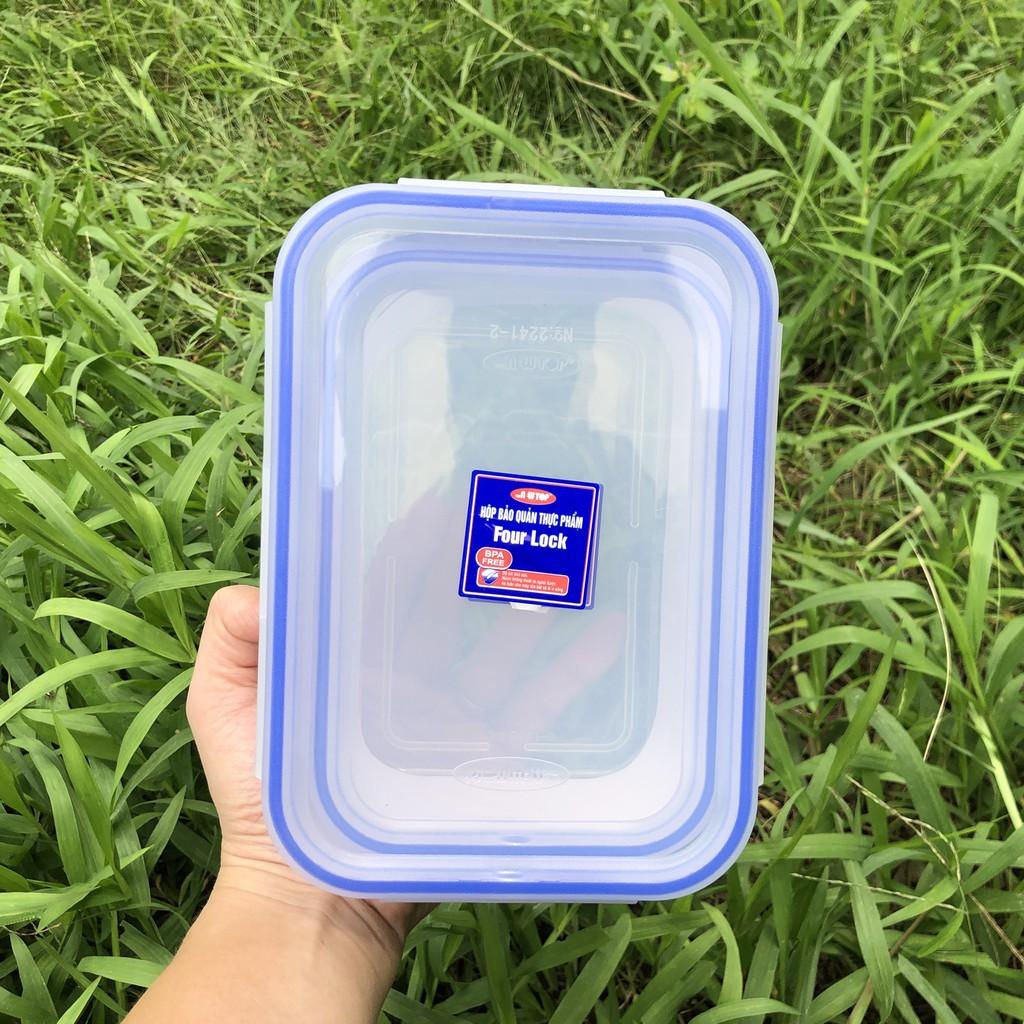 Bộ hộp bảo quản thực phẩm 4 khóa 2241 hình chữ nhật có dung tích 800ml, 1350ml