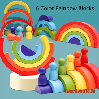 【TrTu】Kids Wooden Rainbow with 6 Wood Sorting Color Portable Montesori Handicr