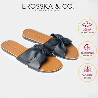 Dép đi biển thời trang Erosska 2021 đính nơ đế bệt màu đen - DE027