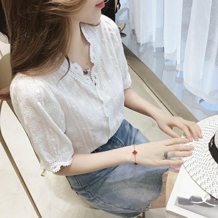 FREESHIP TỪ 50K - Áo Sơ Mi Nữ Cổ Ren Vạt Chồng Thời Trang Hàn Quốc - ASMN19.0027W