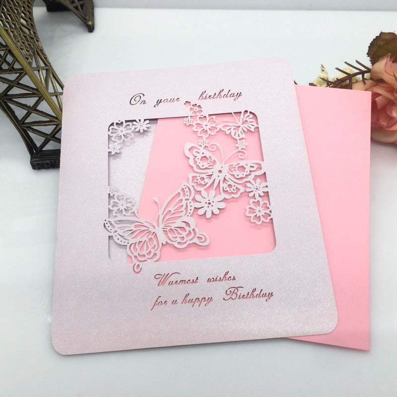 10/lot Handmade HAPPY BIRTHDAY Greeting Card Hollow out Butterfly Cover-Pink