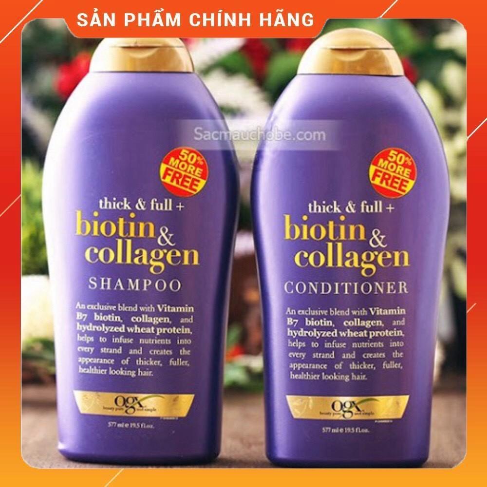 COMBO dầu gội và dầu xả 💥HÀNG CAO CẤP💥 dầu gội dưỡng tóc BIOTIN COLLAGEN OGX 577ml x2