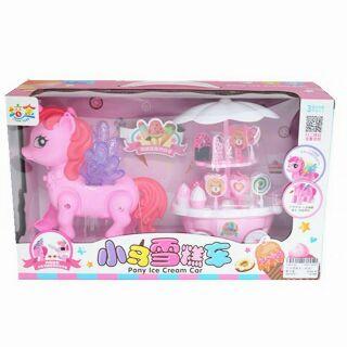 Đồ chơi ngựa pony và xe đẩy kem