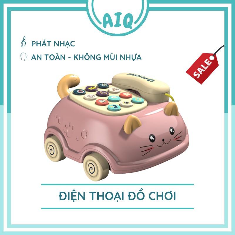 Điện thoại ô tô đồ chơi hình chú mèo dễ thương phát nhạc cho bé vui chơi phát triển trí tuệ AIQ