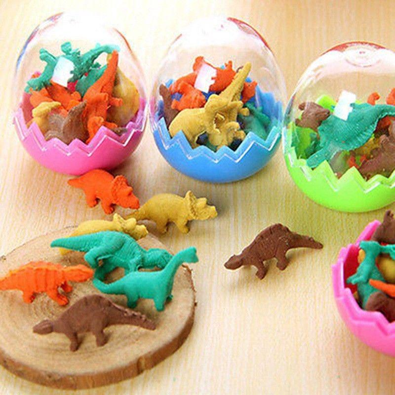 8x Dinosaurs Egg Pencil Rubber Eraser Students Office Stationery Kid Toy Fun New