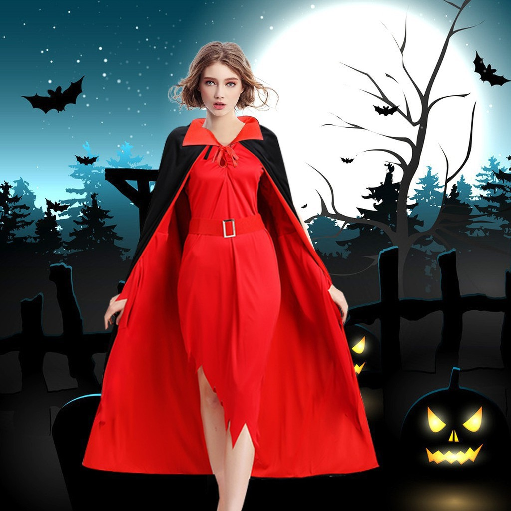 Stok\n[loyi}Halloween Cape Vampire Cape Black and Red Fancy Dress Halloween
