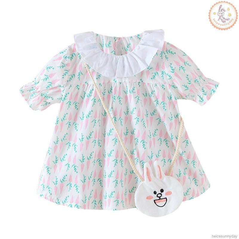 Đầm xoè tay ngắn hoạ tiết cánh hoa nữ tính cho bé