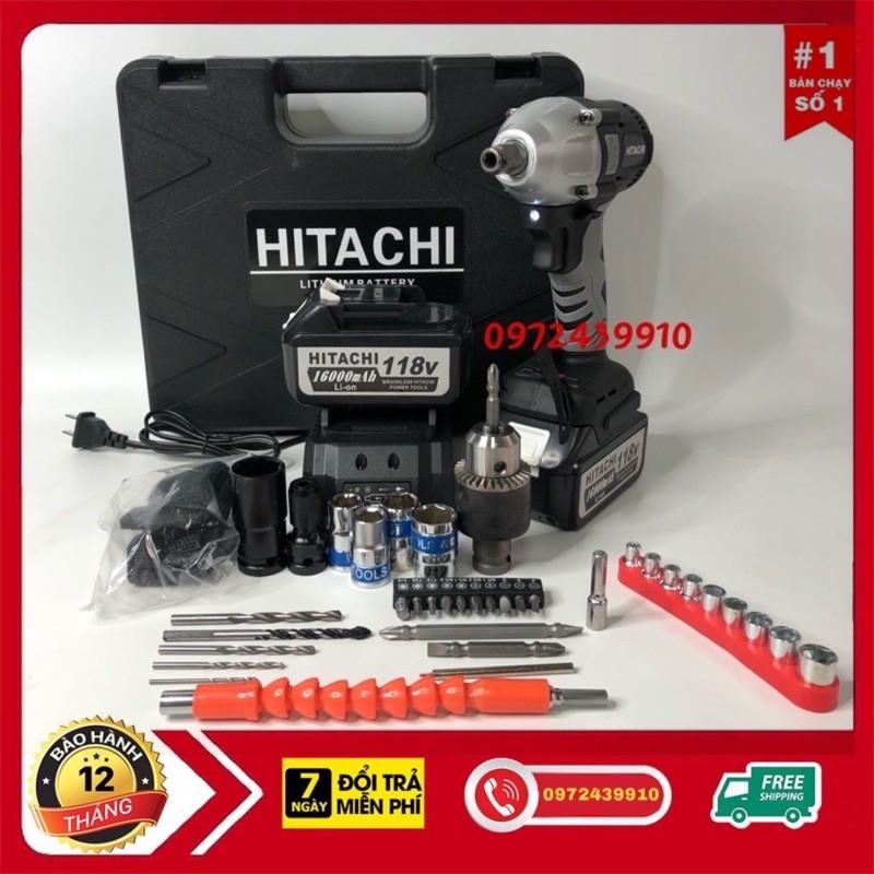 Máy Siết Bulong Băn Vít Hitachi 118V Kèm Bộ Phụ Kiện 36 Chi Tiết.