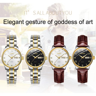 OLEVS 5568 Watch Women Leather Strap Genuine Waterproof Wearable Luminous Calendar Elegant