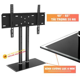 Chân đế tivi đa năng 40 - 50 - 55 - 60 - 65 Inch - Chân tivi để bàn mặt kính cường lực - 2 trụ chịu lực lớn Model: DZ65