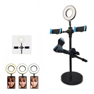 Khung micro livestream 2 khung điện thoại và đèn led