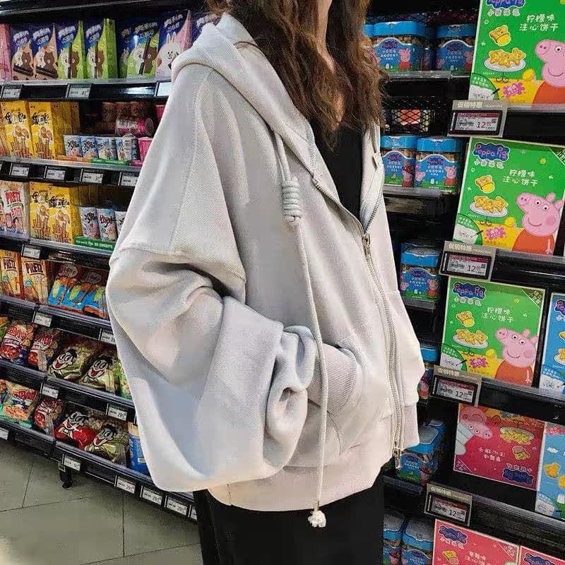 Áo khoác nỉ hoodie trơn Unisex - Thun tay dài form rộng có mũ dáng suông basic ulzzang nam nữ HOT