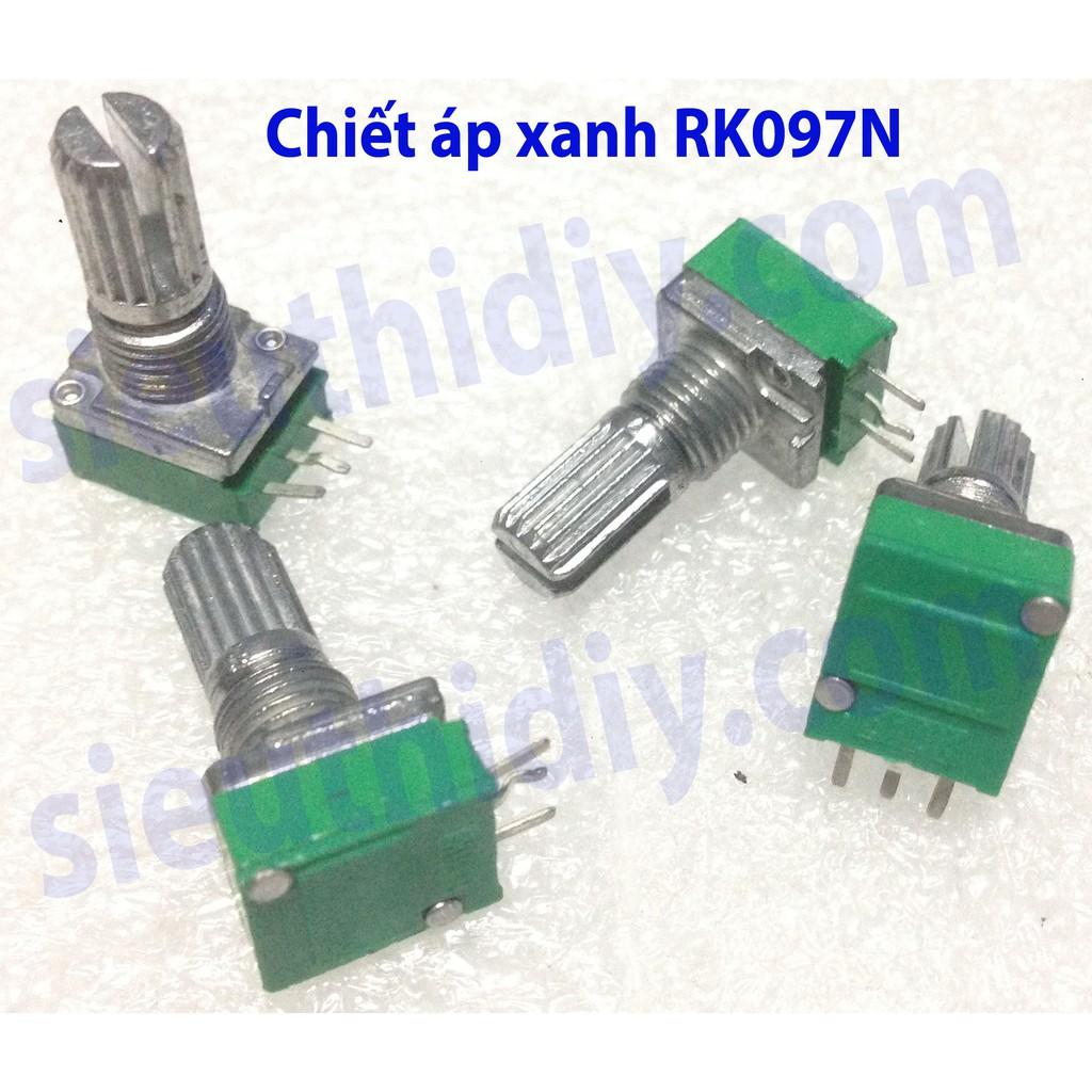Chiết áp xanh đơn RK097N trục hoa 6mm B10K B20K B500K