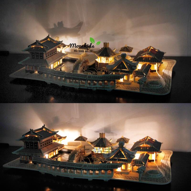 Đồ chơi lắp ráp gỗ 3D Mô hình Nhà Tô Châu – Tặng kèm đèn LED USB trang trí