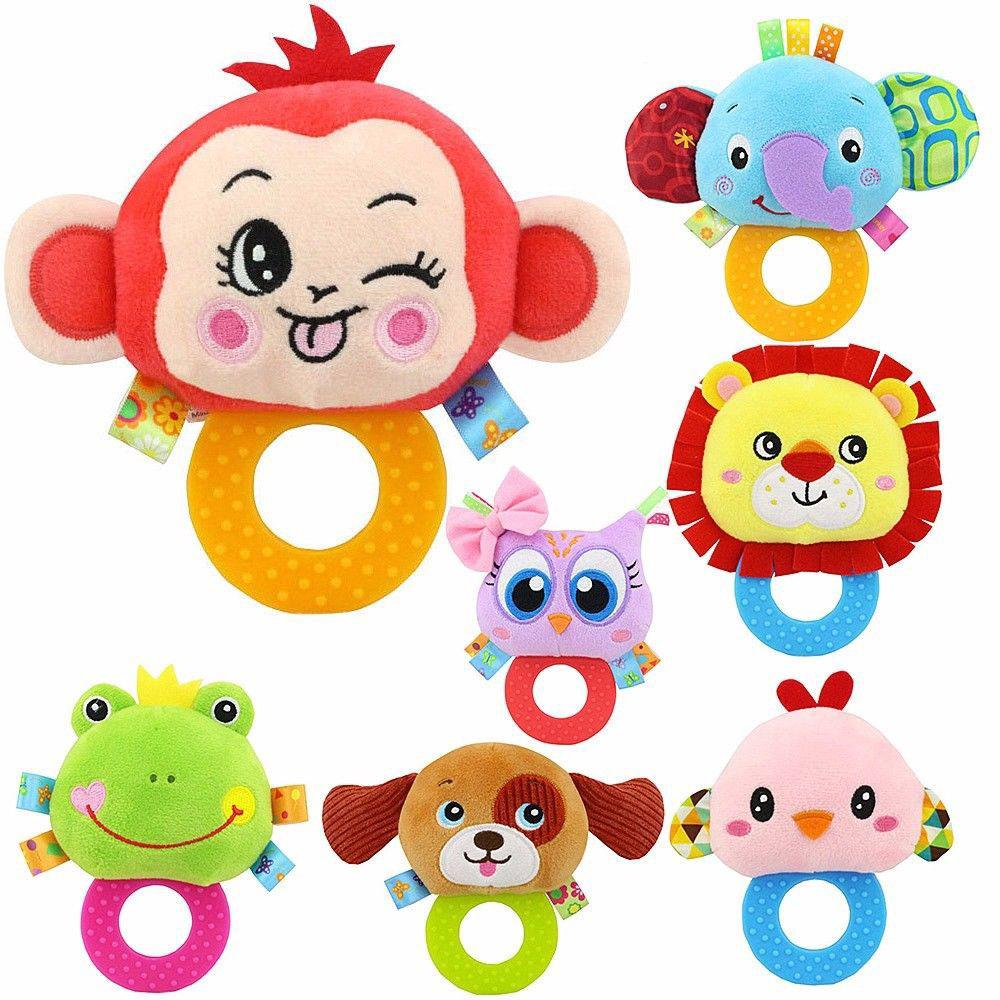 Infant Baby Stuffed Gum Toy Sound Hand Rattle Teether Soft Infant Toy