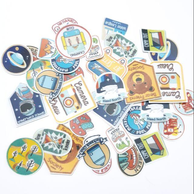 Sticker nhám huy hiệu dán trang trí planer, scrapbook, điện thoại, laptop,….size nhỏ 3-5cm