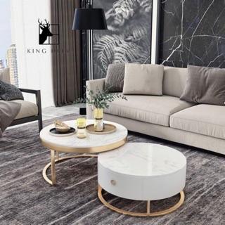 [Phí ship 79k] Bàn trà đôi hộp tròn mặt đá thích hợp với sofa, bàn trà phòng khách