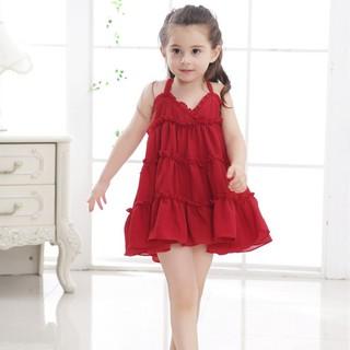 ✨CindyMom✨ Đầm hai dây thời phối bèo nhún thời trang cho bé gái Quần áo trẻ em