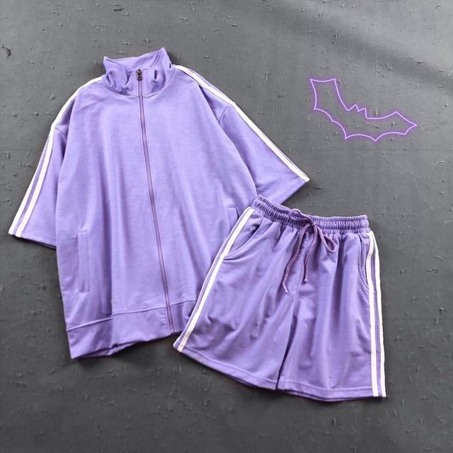 Mặc gì đẹp: Thoải mái với Set bộ đồ thể thao - Áo khoác line + quần line pants 4 màu hồng, đen, vàng, xanh kèm ảnh thật