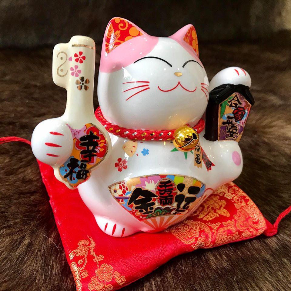 Mèo thần tài sứ may mắn phong thủy Maneki Neko Size 10cm (Mẩu 1-2-3-4)