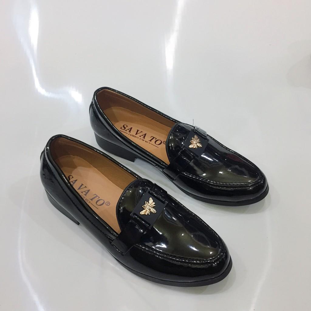 Giày tây nam da bóng đai bướm vàng lịch lãm may đế hàng cao cấp giá rẻ( Vina Store )