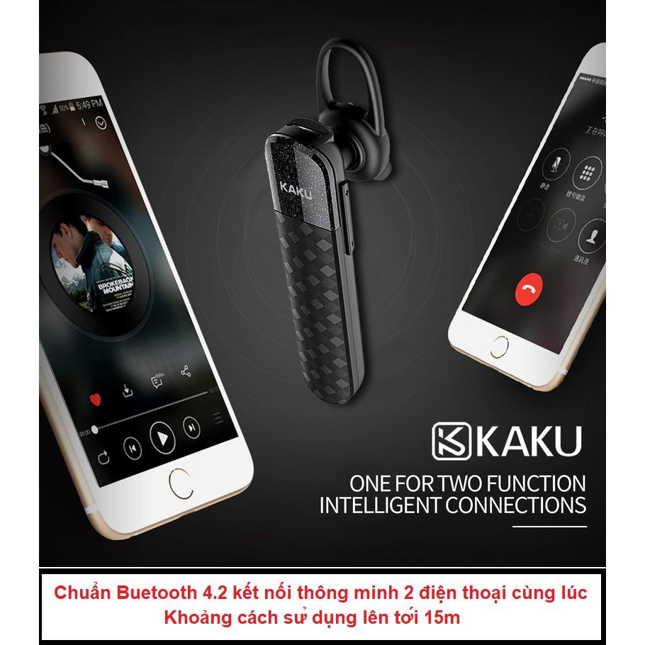 Tai nghe bluetooth KAKU chống ồn , pin khủng , tặng kèm dây cáp sạc, tai nghe gài tai tai nghe không dây có mic