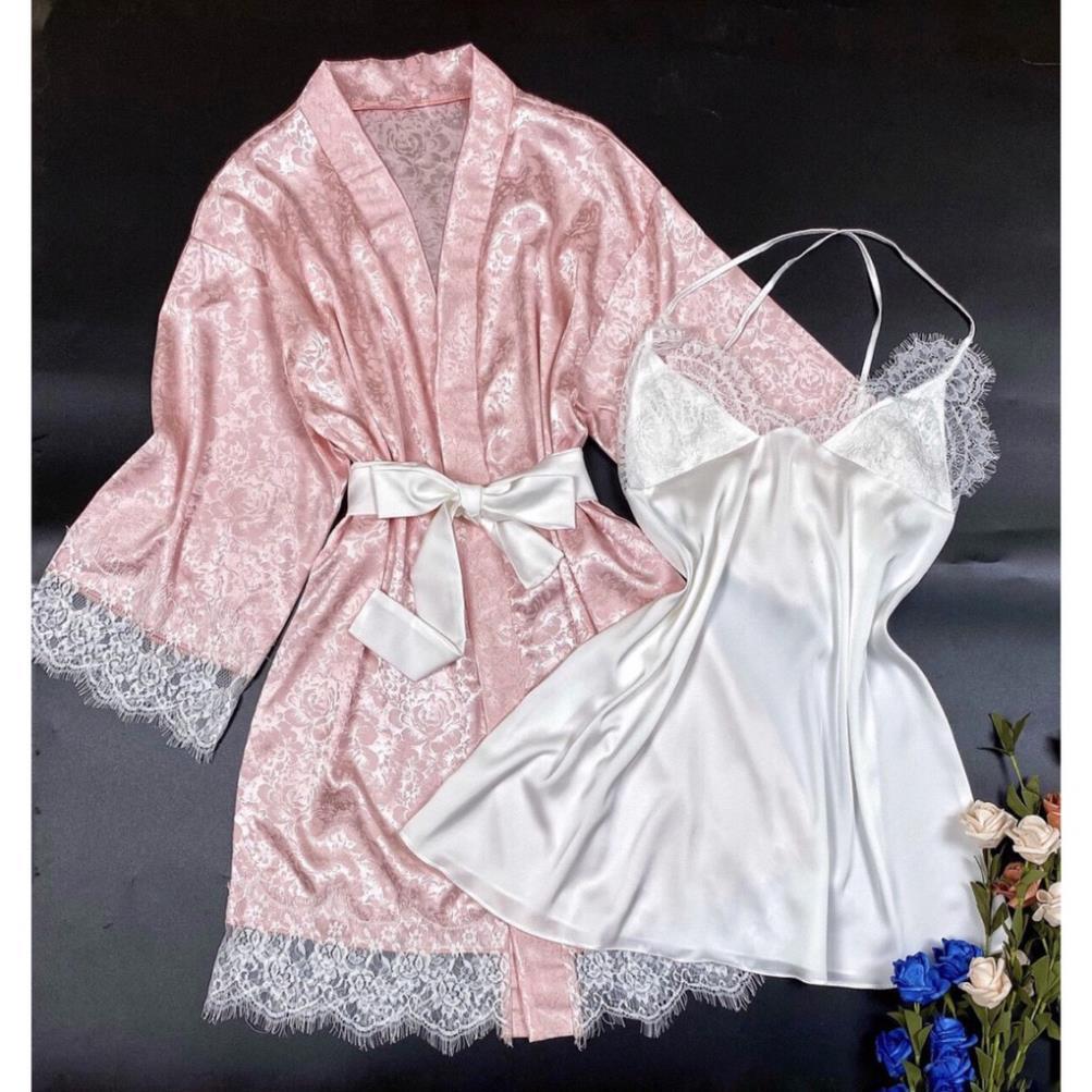 Set bộ ngủ gợi cảm⚡SANG CHẢNH⚡ , váy 2 dây kèm áo khoác ngoài sang trọng, chất vải đẹp, mềm mát, ít nhăn, cho đổi trả...