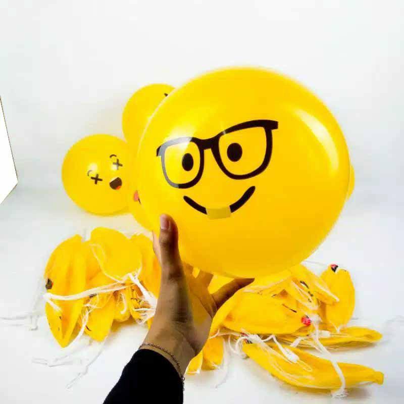 Bóng cao su hình mặt cười 22cm (1 gói 10 cái)