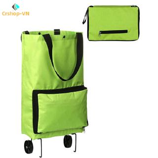 【cr】Oxford Cloth Portable Shopping Storage Bag Japanese Folding Shopping Bag with Wheels